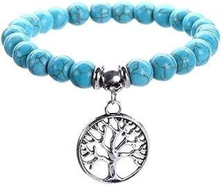 Art Attack Tree of Life Stretch Bracelet, Turquoise Yoga Charm, Tibetan Energy Pendant