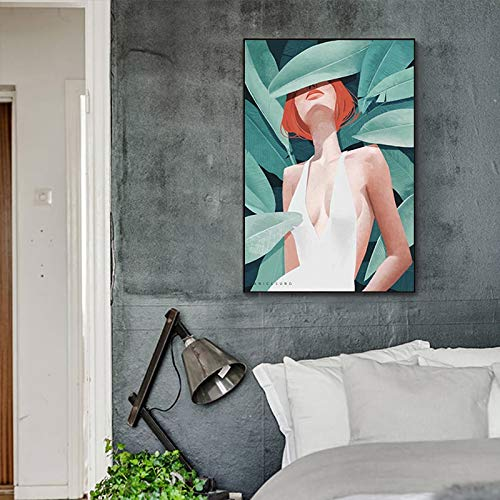 Abstract manga girl bedroom poster famous illustration nordic style wall art picture turntable decoration 50x60cm