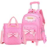 VIDOSCLA Cute Print Bowknot Trolley Backpack Elementary Middle School Rolling Bag Wheeled BookBag for Kids Girls