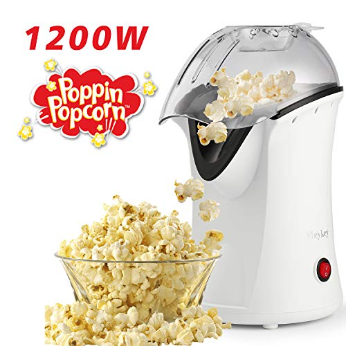 Hot Air Popcorn Machine, 1200 W Popcorn Popper, Electric Popcorn Maker with Measuring Cup and...