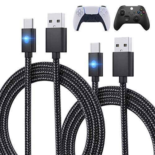 Cable de carga de carga para controlador de PS5, Xbox Series X/S Controlador/Switch Pro, cable de carga USB de repuesto de nailon trenzado tipo C, accesorios para Playstation 5/Xbox Series X