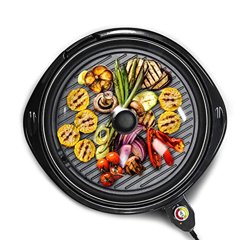 Elite Gourmet EMG-980B Large Indoor Electric Round Nonstick Grill Cool Touch Fast Heat Up Ideal Low-Fat Meals Easy to Clean Design Dishwasher Safe Includes Glass Lid, 14