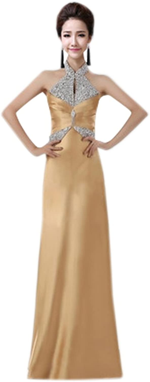 Drasawee Womens Sexy Sparkly Sequins Halter Long Satin Prom Bridal Party Dress gold US6