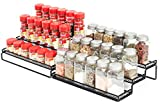 3 Tier Expandable Cabinet Spice Rack Organizer - Step Shelf with Protection Railing (12.5 to 25'W), Black