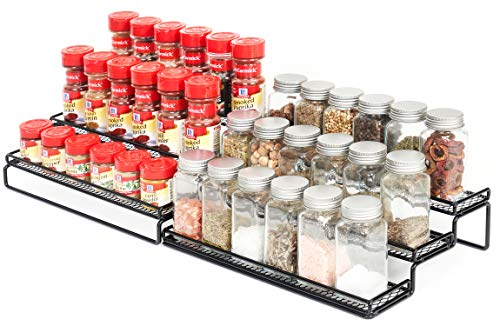 3 Tier Expandable Cabinet Spice Rack Organizer - Step Shelf with Protection Railing (12.5 to 25