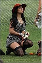 Vanessa Hudgens in Kneeling in Black and White Dress Black Lacy Stockings 8 x 10 inch photo