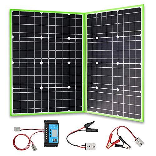 XINPUGUANG Panel solar plegable 100 W, 2 x 50 W, 12 V, cargador solar monocristalino con controlador de 10 A para tienda de campaña y carga al aire libre