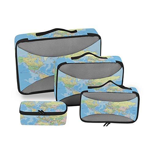 BIGJOKE - Juego de 4 Cubos de Embalaje de Viaje, diseño de Mapa del Mundo político, Ligero, Accesorios de Equipaje de Viaje, organizadores de Bolsas de Almacenamiento