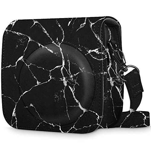 Fintie Beschermhoes voor Fujifilm Instax Mini 9/Mini 8/Mini 8+ Instant Camera - Premium Vegan Leather Bag Cover met Verwijderbare Band voor Fujifilm Instax Mini 8 8+/Mini 9, Marble Black
