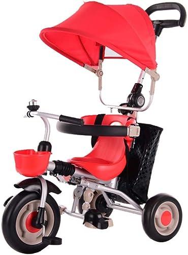 Triciclo for Niños Plegable, Cochecito de bebé de 1-3-2-6 años, Triciclo superalto de Alta Elasticidad, Tres Colors (marrón, verde, rojo)