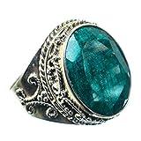Emerald, Smaragd 925 Sterling Silber Ring 9.75
