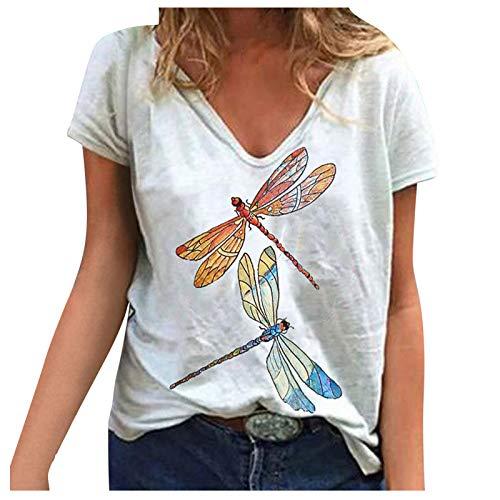 Camiseta Mujer Manga Corta Talla Grande Camiseta con Cuello en V para Mujer Vintage Suelta Animal Mariposa Estampado Suave Causal Camisa Blusa Verano