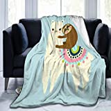Delerain Alpaca Llama Sloth Soft Throw Blanket 40'x50' Lightweight Flannel Fleece Blanket for Couch Bed Sofa Travelling Camping for Kids Adults
