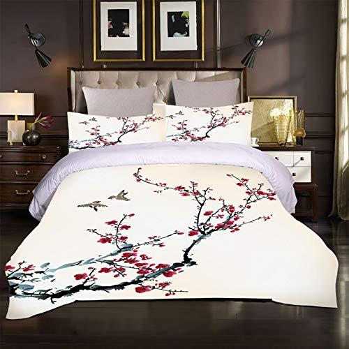 WEDSGTV Funda nórdica de algodón 100% poliéster Suave Pájaro de Flor de Ciruelo Rojo 78.7x78.7 Inch Juego de Cama con Estampado 3D Funda nórdica Funda de Almohada Twin Queen King Size