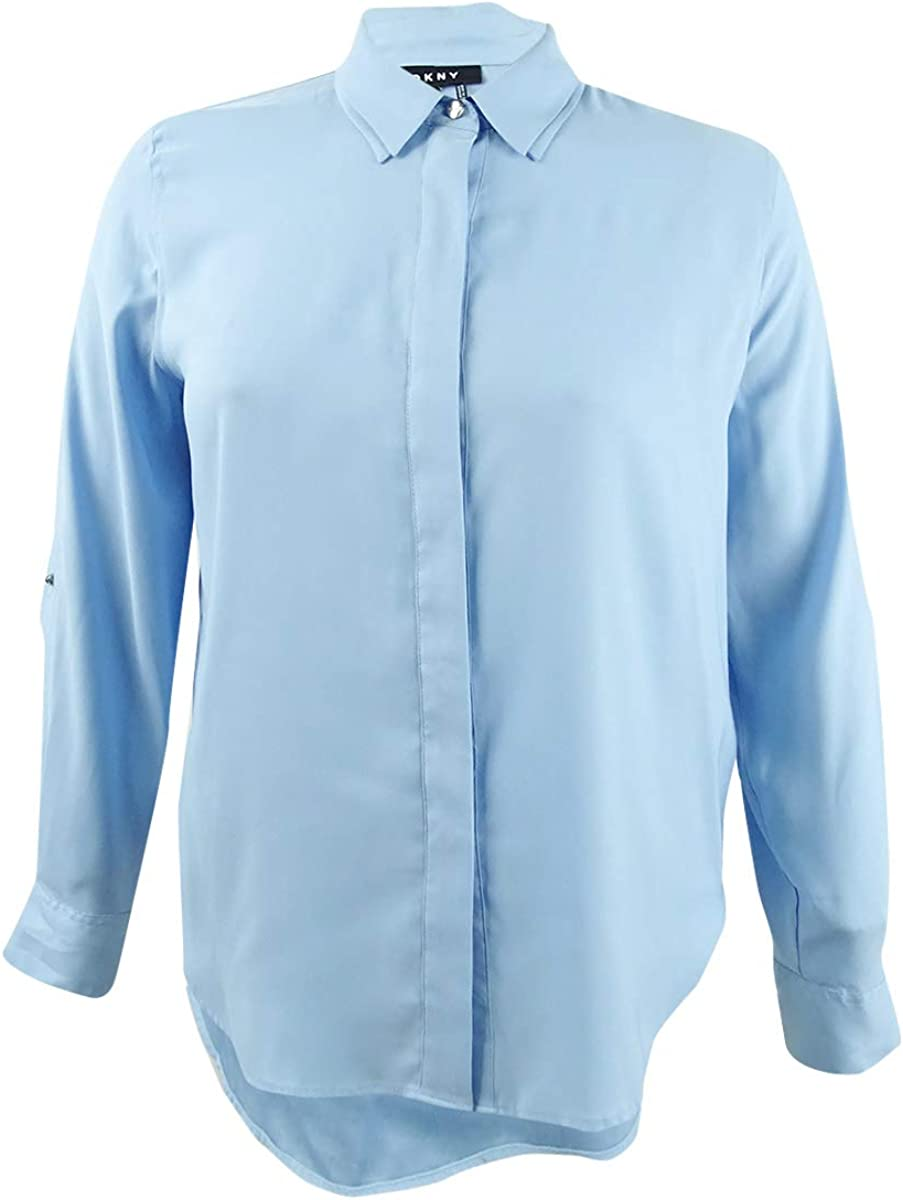 DKNY Womens Double Collar Button Down Blouse, Blue, Large