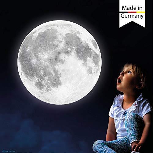 Wandtattoo-Loft Leuchtaufkleber Mond nachtleuchtend Leuchtmond 30 cm Leuchtsticker Kinderzimmer fluoreszierend leuchtet im Dunklen