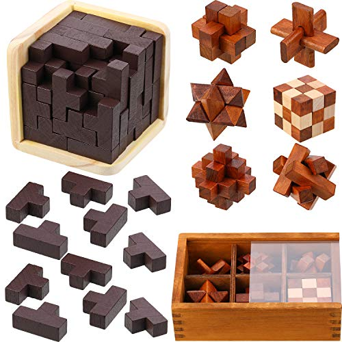Wooden Brain Teaser Set 3D Wooden Cube Brain Teaser Puzzle Gift for Intellectual Game Entertaining and Educational Tools