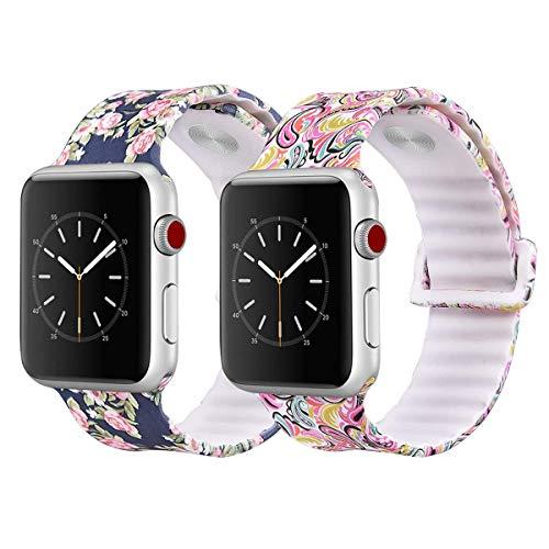 VIGOSS Compatible Apple Watch Band 38mm 42mm Women Men Small Medium, Soft Silicone Strap Replacement iWatch Band Flower Wristbands for Apple Watch Series 3/2/1 Sport Edition