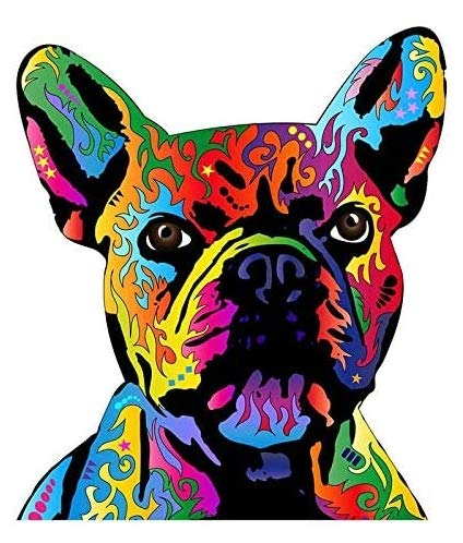 for Dean Russo Pit Bull Art French Bulldog Canvas Personality Refrigerator - Sticker Graphic Car Laptop Trucks Waterbottles Lunch Box Skateboard