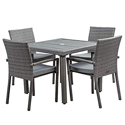 BELLEZE Mariel 5 Pieces Outdoor Patio Dining Set Wicker Slat Table with Umbrella Cut Out and 4 Cushioned Chair, Gray