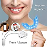 16 LED Blue Light Teeth Whitening Light Teeth Whitener Light Attachable Mouth Tray Tooth Care Hands Free LED for iPhone,Android,USB Safe Comfortable Portable for Home Use
