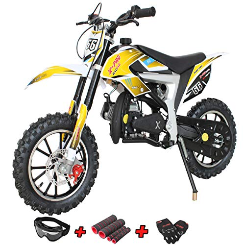 Bolt 50cc Dirt Bike Gas Dirt Bike Kids Dirt Bikes Pit Bikes Youth Dirt Pitbike with Gloves, Goggle and Handgrip,Yellow