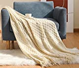 Hayisugal Tagesdecke Gestrickte Boho Decke überwurf Decke warm Wohndecke Reisedecke Schmusedecke weich Kuscheldecke für Sofa Sessel Couch, Beige, 130 x 150cm
