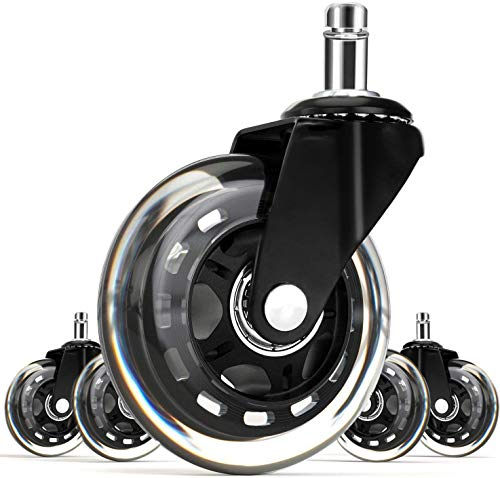 FOH Office Rubber Chair Caster Wheels (Set of 5) Heavy Duty Casters & Safe Fit for All Floors 3