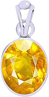 Ramneek Jewels Divya Shakti 8.25-8.50 Carats Yellow Sapphire Pendant/Locket (Pukhraj/Jupiter Stone Silver Pendant) 100% Original AAA Quality Gemstone