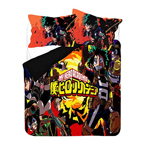 Probuk My Hero Academia - Juego de ropa de cama infantil con diseño de anime, funda de edredón para niños, niñas, adultos, ropa de cama con funda de almohada (A-06,150 x 200 cm (80 x 80 cm)