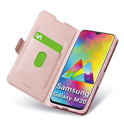 Aunote Samsung Galaxy M20 Hülle, Samsung M20 Schutzhülle mit Kartenfach, Handyhülle Tasche, Leder Etui Folio, Flip Cover Hülle, PU TPU Klapphülle Komplettschutz Samsung M20 Phone 6.0 Zoll. Rosegold