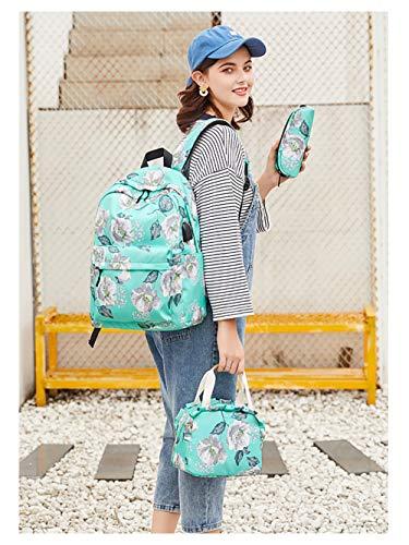 FVAL Mochila Escolar Impermeable Raya Moderna para Chicas-Mochila Informal para Mochila Escolar de Oficina Universitaria - Backpack Canvas Casual + Bolsa del Almuerzo + Monedero Grande 3pcs - Verde