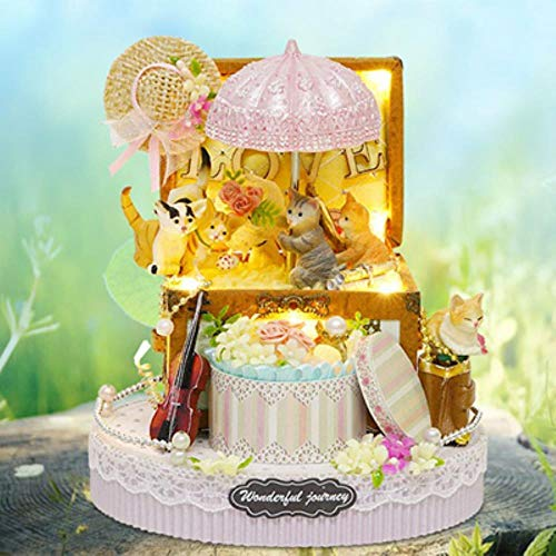 AOJIAOGUI Assembled Resin Anime Cottages Music Box My Neighbor Totoro Birthday Gift Fantasy Forest Candy Cat Music Boxes,Style 2