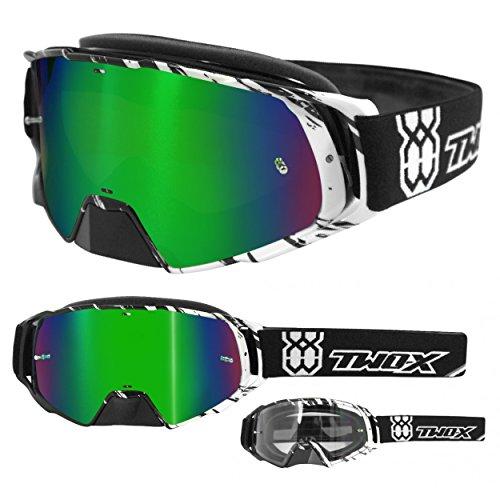TWO-X Rocket Crossbrille Crush schwarz Weiss Glas verspiegelt grün MX Brille Nasenschutz Motocross Enduro Spiegelglas Motorradbrille Anti Scratch MX Schutzbrille Nose Guard