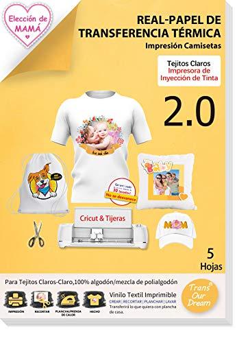 TransOurDream Real - Papel de Transferencia Térmica Para Camisetas Blancas y Tejidos Claros(A4x5 Hojas)Fácil de Usar, Sin impresión de Espejo,Compatible con Impresoras de Inyección de Tinta, ES-2-5