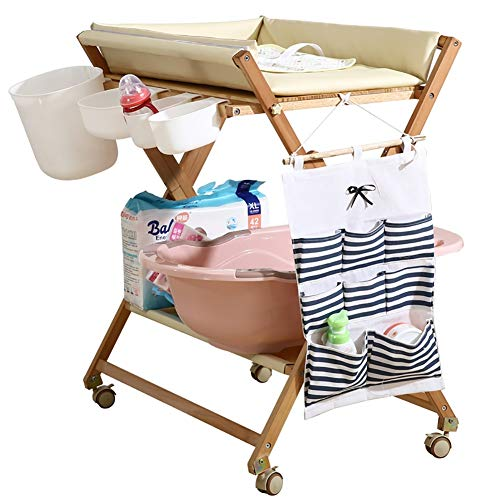 ZAQI Wickelkommode wickelaufsatz wickeltisch Klappbarer Wickeltisch aus Holz mit Rädern - Kinderbadewannenstation mit wasserdichter Auflage für kleine Räume, gelb