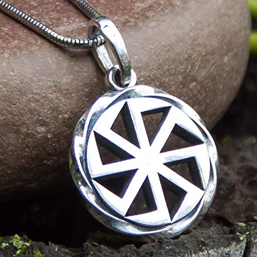 Pagan Sun Wheel Pendant Kolovrat Necklace 925 Sterling Silver Oxidized Ancient Slavic Solar Symbol Powerful Amulet Viking Norse Jewelry for Men Women/Handmade