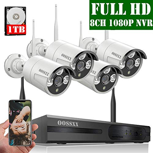 【2020 Update】 OOSSXX 8-Channel HD 1080P Wireless Security Camera System,4Pcs 1080P 2.0 Megapixel Wireless Indoor/Outdoor IR Bullet IP Cameras,P2P,App, HDMI Cord & 1TB HDD DVR Kits Surveillance