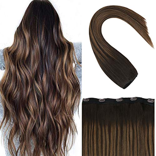 Sunny 3/4 Testa Completa Capelli Veri Clip Extensions One Piece 5 clips 100% Remy Pelo Umano Ombre Marrone Highlight Clip in Capelli Extension 16 Pollice 70g