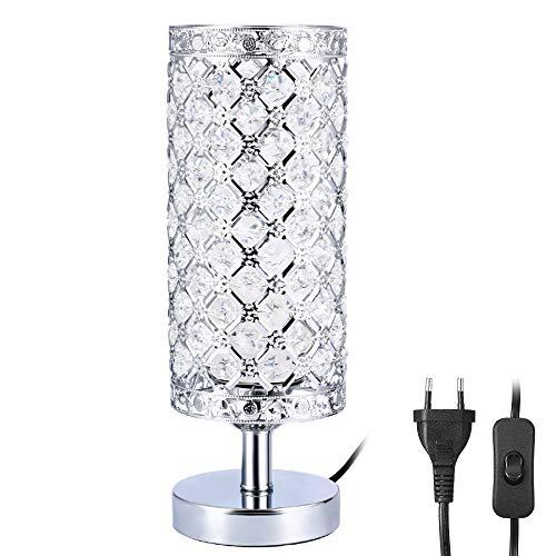 Kristall Tischlampe, Infankey Tischleuchte mit Schalter, Nachttischlampe mit 90 K9-Kristall, Perfekt Tischlampe Vintage für Wohnzimmer, Schlafzimmer, Kommode Tischdekoration(Ohne Birne)