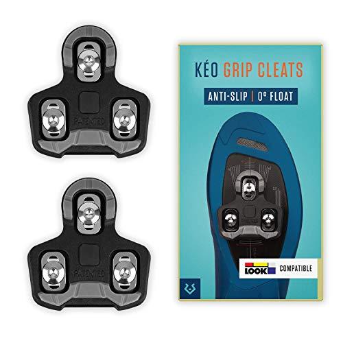 Alphatrail Look Keo Rennrad Cleats Alfred I 0° Float I Mit Anti-Slip Aufstandspunkten I Inkl. Montageset I Kompatibel mit Klickpedalen u.a. Look Keo