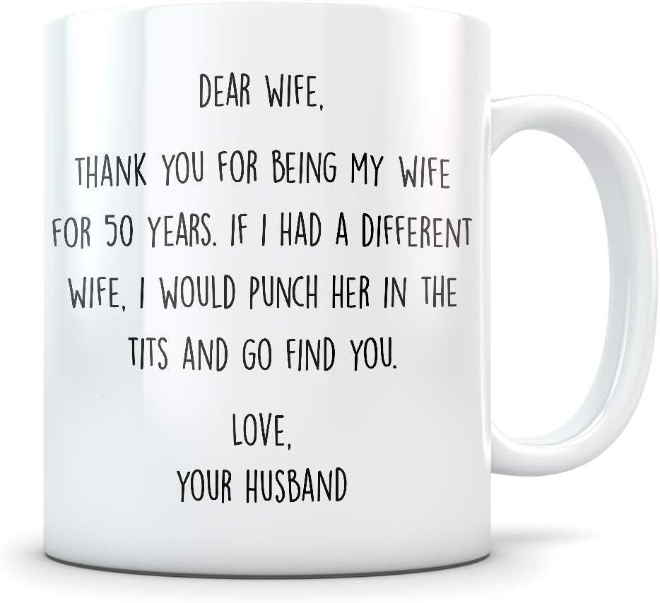 N\A Regalo del 50 Aniversario para Mujeres - Divertido Aniversario de Bodas de 50 años para Ella - La Mejor Taza de café de Matrimonio Te Amo para Parejas Que celebran su relación