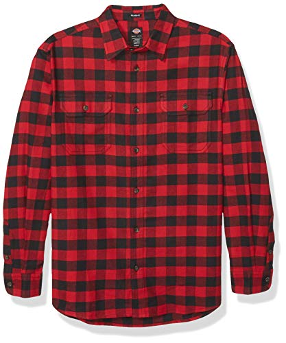 Dickies Men's Big and Tall Long Sleeve Flex Flannel Shirt, Red and Black Buffalo Plaid, 3X-Large