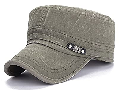 ChezAbbey Unisex Fitted Flat Top Cap Solid Brim Army Cadet Style Military Hat with Adjustable Strap Green