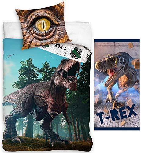 rainbowFUN.de - Juego de cama infantil de dinosaurio, funda nórdica de 135 x 200 cm y funda de almohada de 80 x 80 cm, toalla de mano de 70 x 140 cm, 100% algodón, con cremallera