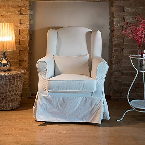 Shabby Maison Poltrona vestita Completamente SFODERABILE (100% Cotone) - Poltrona Tessuto Ecrù