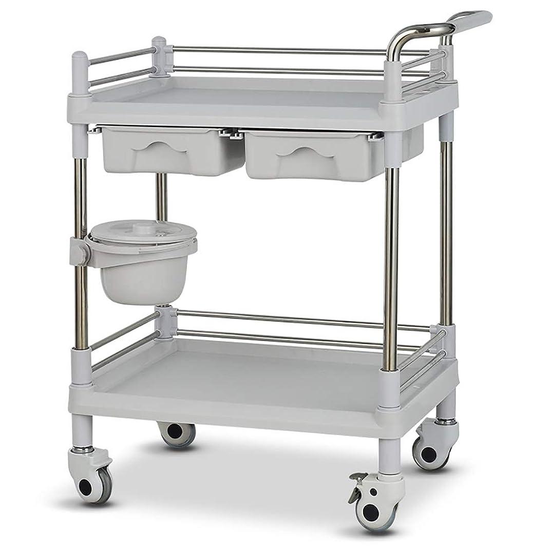 スリップシューズ内側手配する美容院の医学の移動式カート、多機能の器械用具の変更の薬車のプラスチックステンレス鋼の棚 (サイズ さいず : 64.5*44.5*90cm)