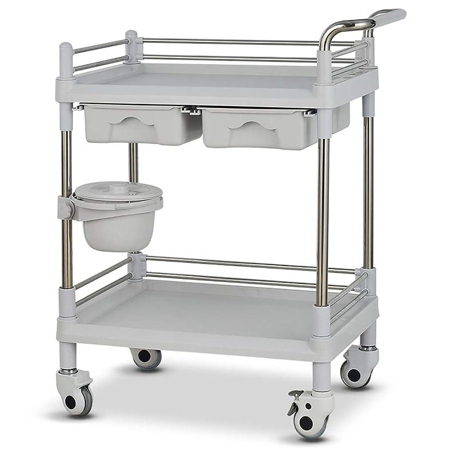 ファンネルウェブスパイダー貞スラック美容院の医学の移動式カート、多機能の器械用具の変更の薬車のプラスチックステンレス鋼の棚 (サイズ さいず : 64.5*44.5*90cm)