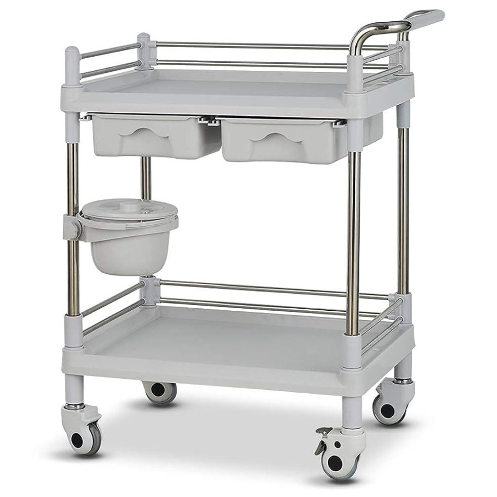地味なトリッキー毎回美容院の医学の移動式カート、多機能の器械用具の変更の薬車のプラスチックステンレス鋼の棚 (サイズ さいず : 64.5*44.5*90cm)