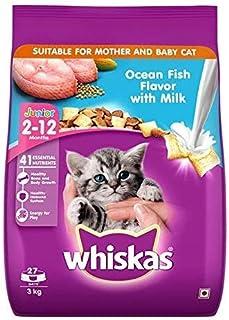 Whiskas Kitten (2-12 Months) Dry Cat Food, Ocean Fish Flavour with Milk, 3 kg Pack
